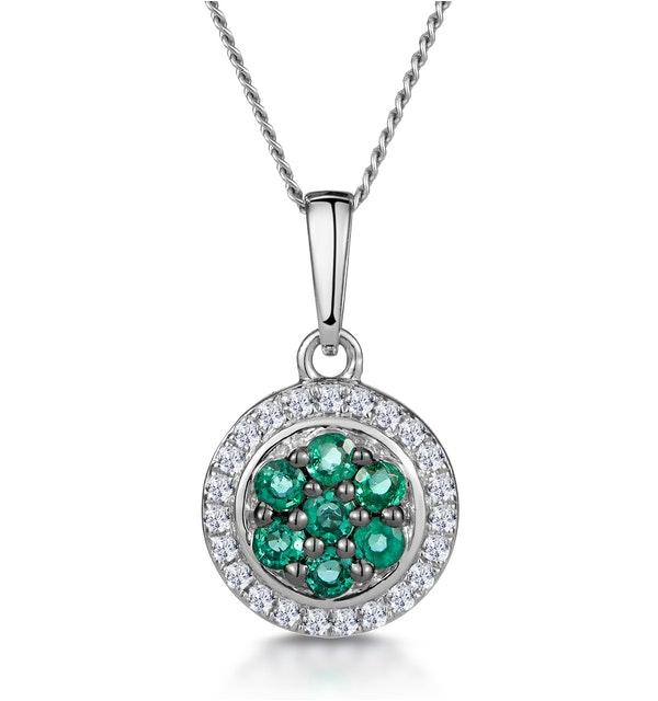 0.16ct Emerald and Diamond Stellato Necklace in 9K White Gold - image 1