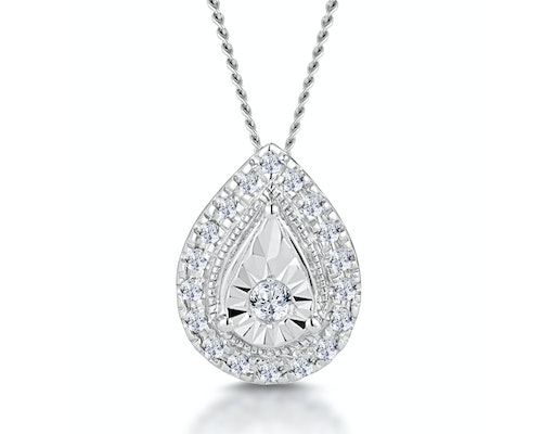 Diamond Halo Necklaces and Pendants