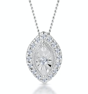 MASAMI DIAMOND MARQUISE HALO NECKLACE 0.10CT PAVE SET IN 9K WHITE GOLD