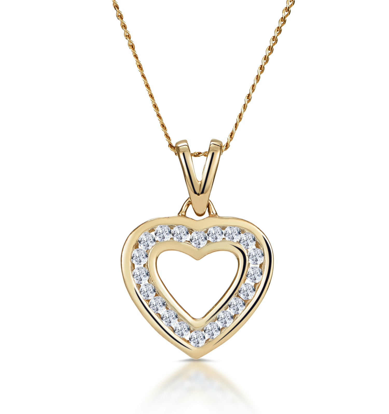 Diamond Heart Necklace 0.20ct Channel Set in 9K Gold