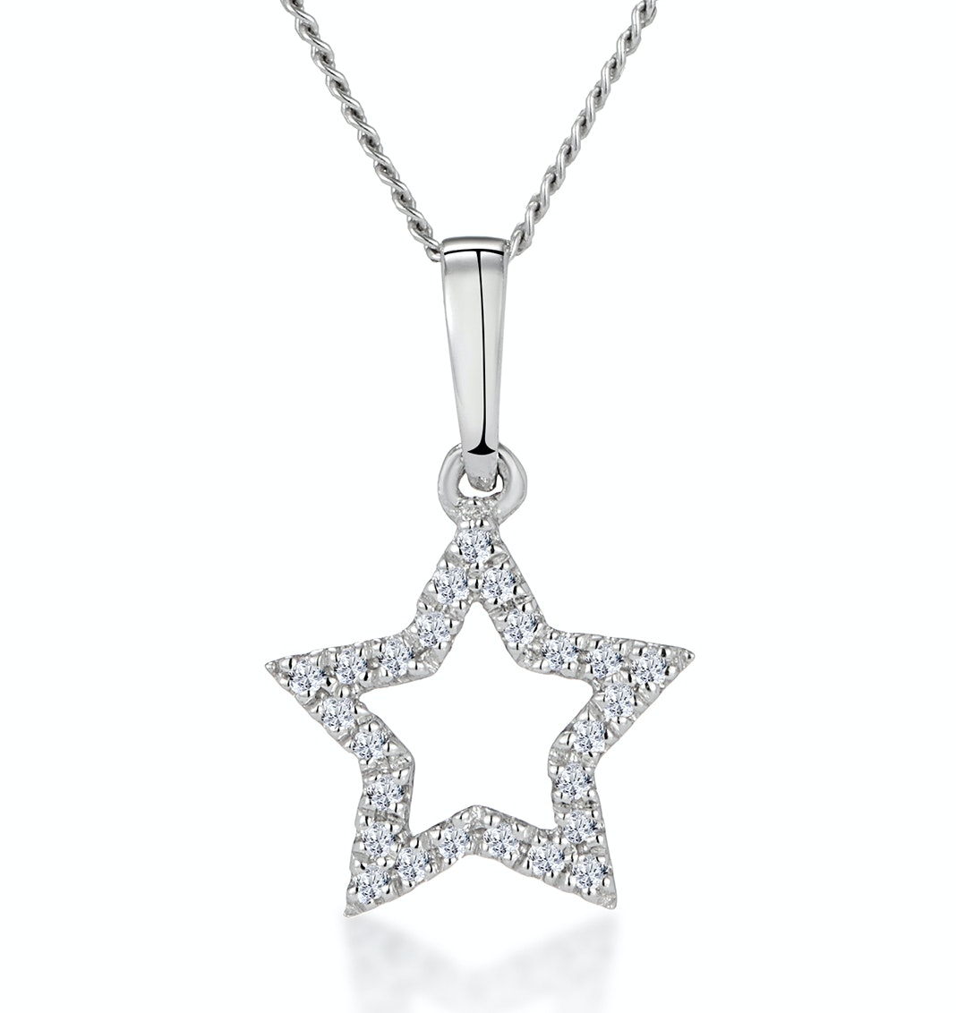 Stellato Diamond Star Necklace in 9K White Gold