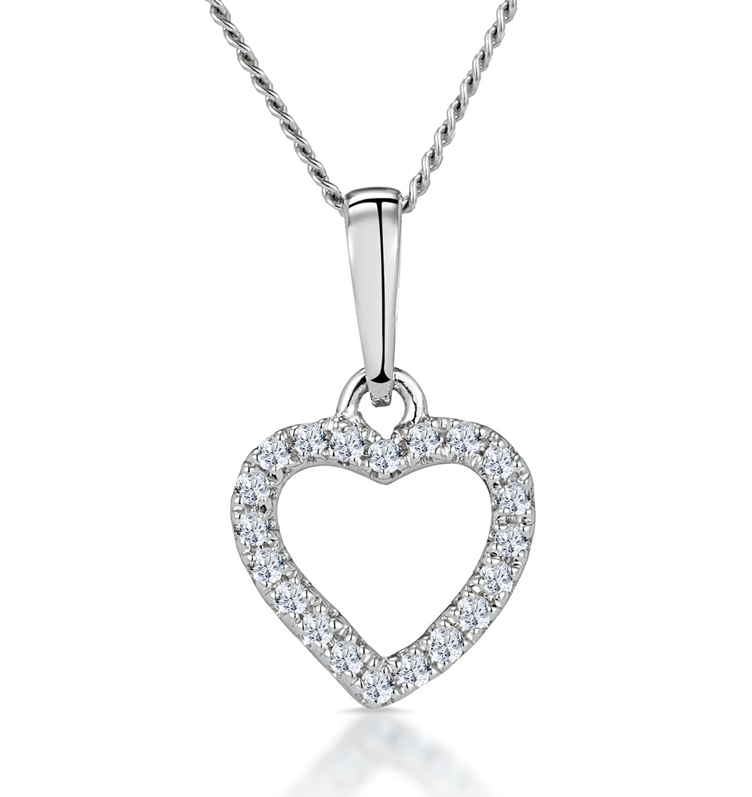 Stellato Diamond Heart Necklace in 9K White Gold