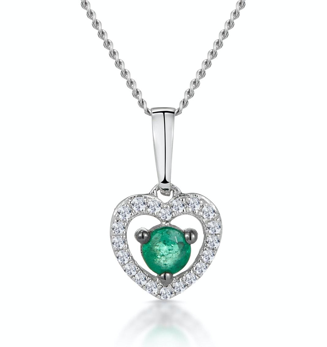 Stellato Emerald and Diamond Heart Necklace in 9K White Gold