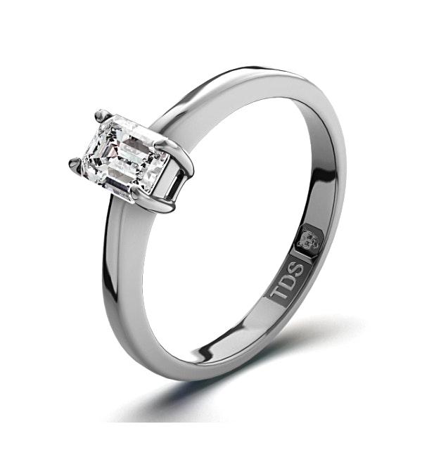 Diamond Engagement Ring Emerald Cut 18K White Gold 0.25CT-G-H/SI - image 1