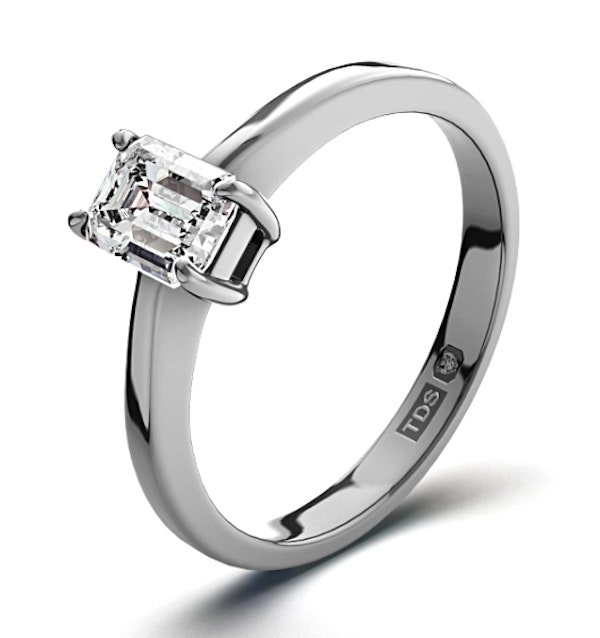 Certified Emerald Cut Platinum Diamond Engagement Ring 0.33CT-G-H/SI - image 1