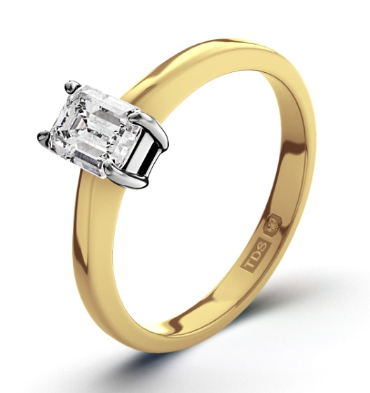 Certified Emerald Cut 18K Gold Diamond Engagement Ring 0.33CT-G-H/SI