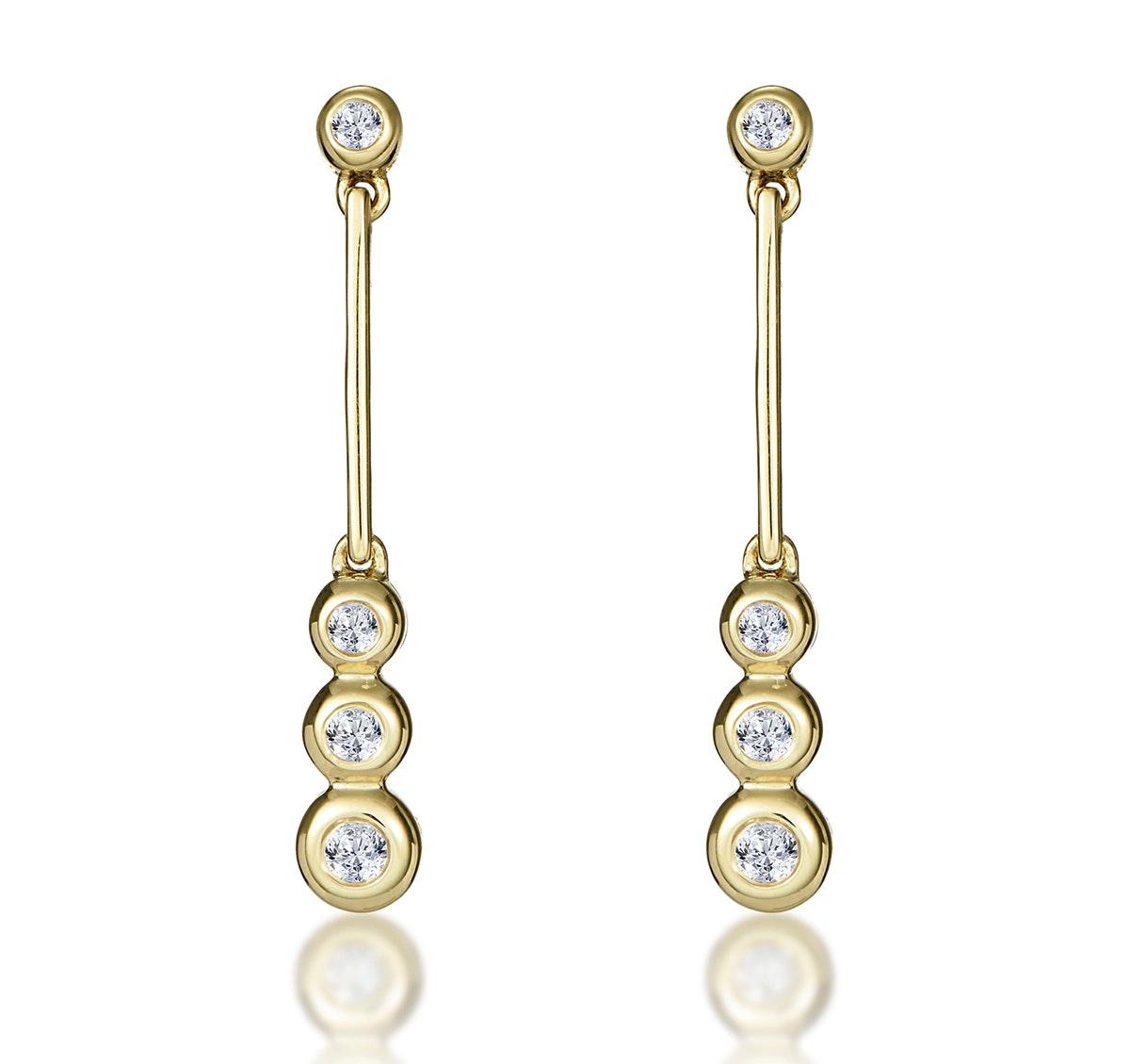 Small Drop Earrings 0.12ct Diamond 9K Yellow Gold