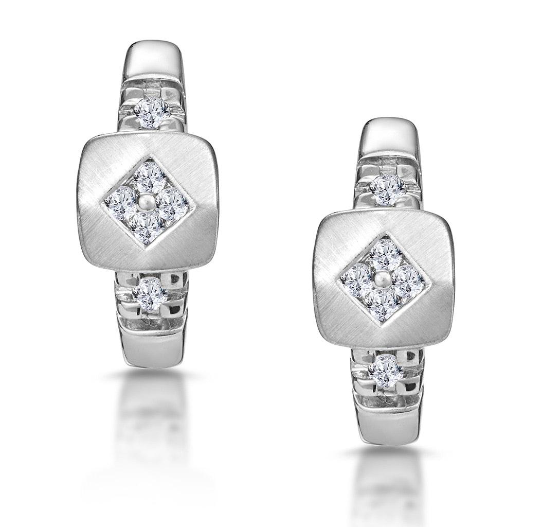 Chic Diamond Design Huggy Earrings in 9K White Gold