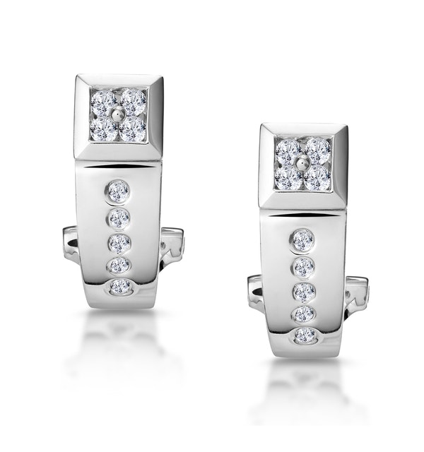 Elegant Diamond Huggy Earrings in 9K White Gold - image 1
