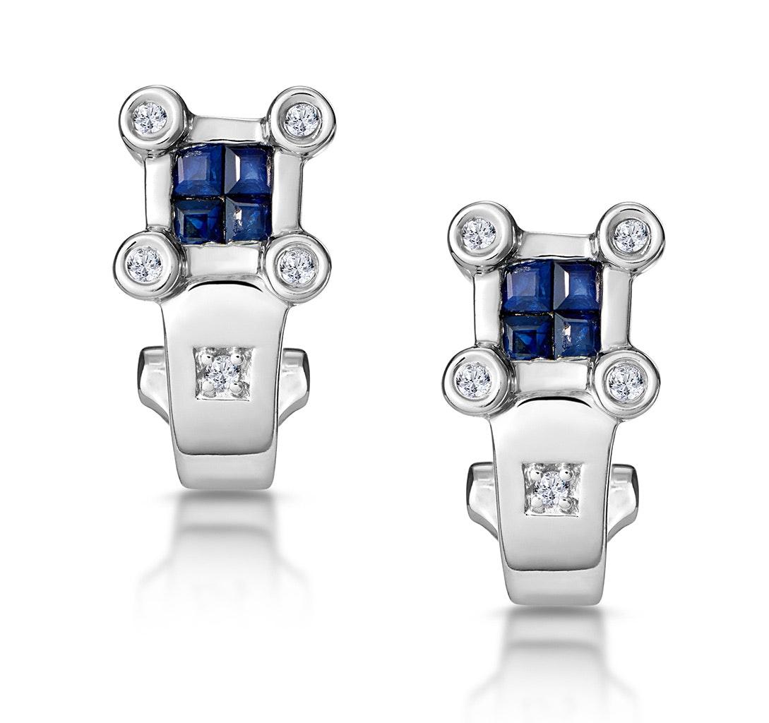 Sapphire and Diamond Studded Huggy Earrings in 9K White Gold