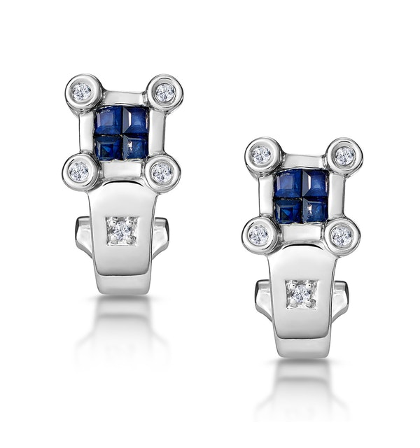 Sapphire and Diamond Studded Huggy Earrings in 9K White Gold - image 1