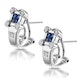 Sapphire and Diamond Studded Huggy Earrings in 9K White Gold - image 2
