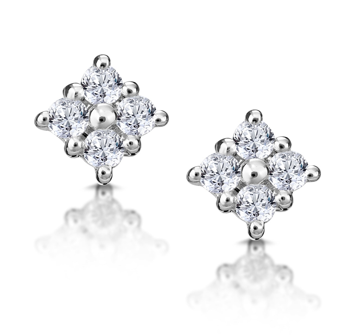 Small Fancy Earrings 0.18ct Diamond 9K White Gold