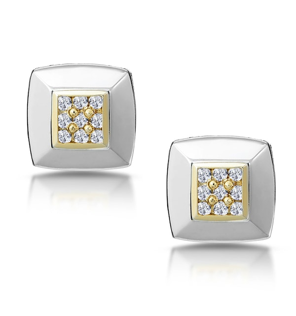 Diamond Pave Square Design Earrings in 9K White Gold - image 1