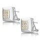 Diamond Pave Square Design Earrings in 9K White Gold - image 2