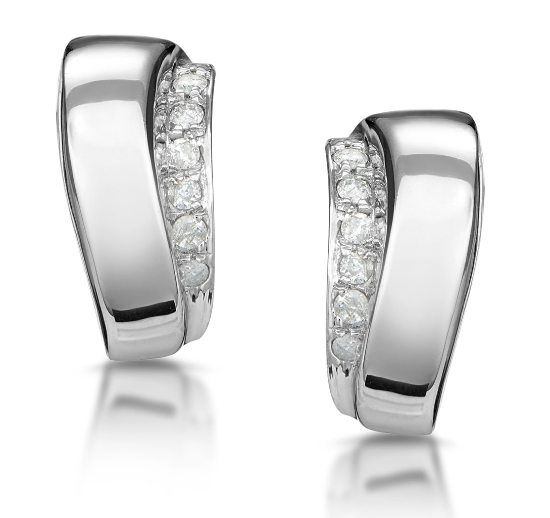 0.14ct Diamond Border Huggy Earrings in 9K White Gold