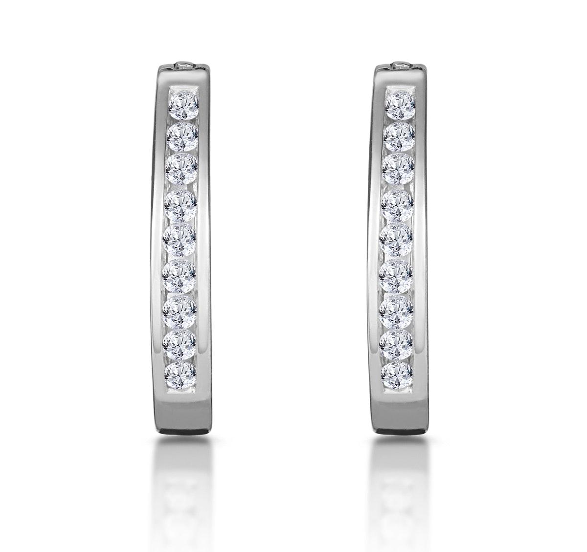 Hoop Earrings 0.25ct Diamond 9K White Gold