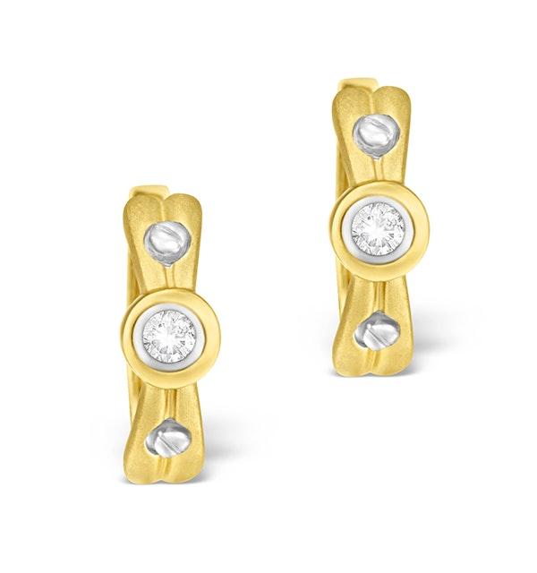 9K Gold Diamond Rubover Earrings - image 1