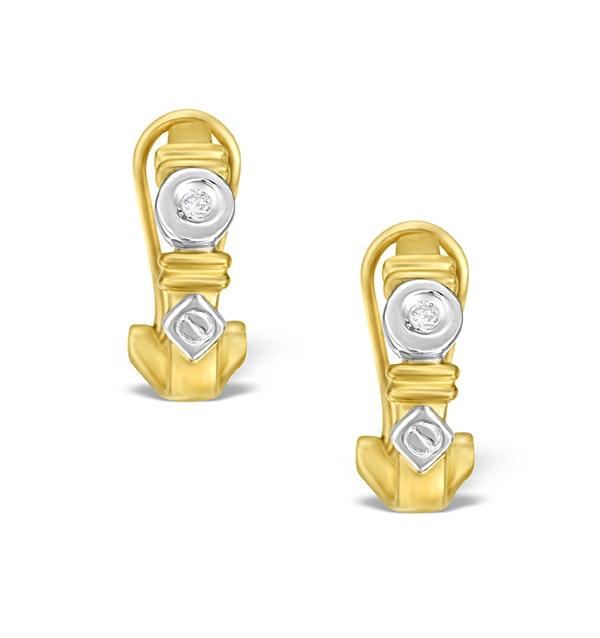 9K Two Tone Diamond Huggy Earrings