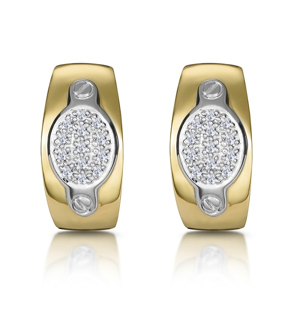 1/4 Carat Diamond Pave Inlay Design Earrings in 9K White Gold - image 1