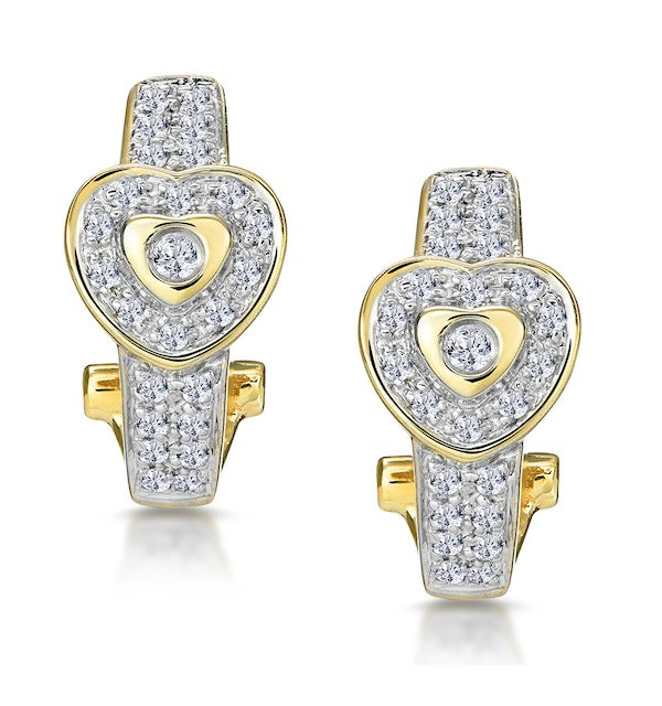 0.37ct Diamond Pave Heart Earrings in 9K Gold - image 1