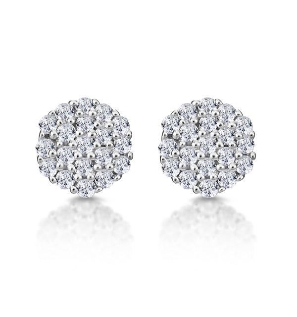 Cluster Earrings 0.25ct Diamond 9K Yellow Gold - image 1