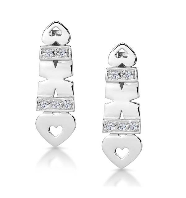 Diamond Pave Hearts and Kisses Earrings in 9K White Gold - image 1
