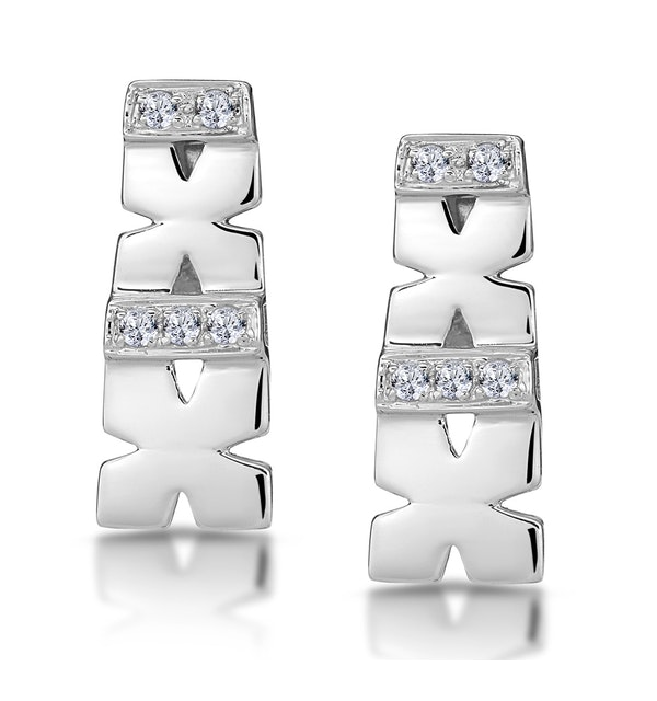 0.10ct Diamond Pave Kisses Earrings in 9K White Gold - RTC-H3870 - image 1