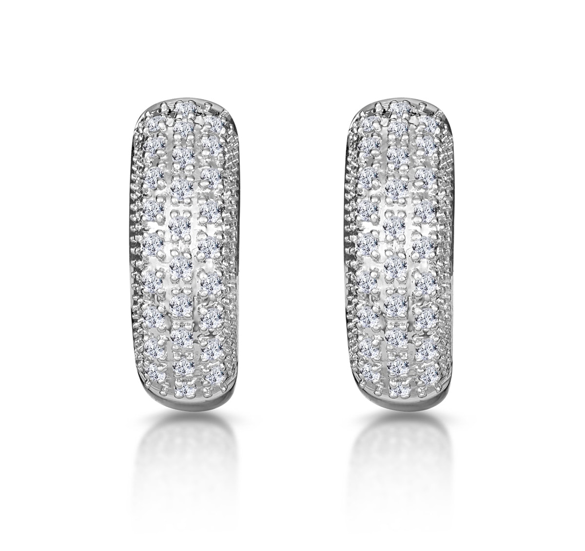 Huggy Earrings 0.33ct Diamond 9K White Gold