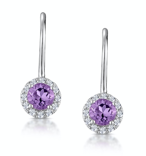 Amethyst 0.57CT And Diamond 9K White Gold Earrings - image 1