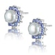 Tanzanite And Pearl 9K White Gold Earrings - image 2