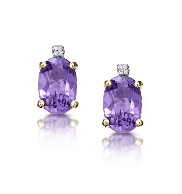 Amethyst 0.80CT And Diamond 9K Yellow Gold Earrings - image 1