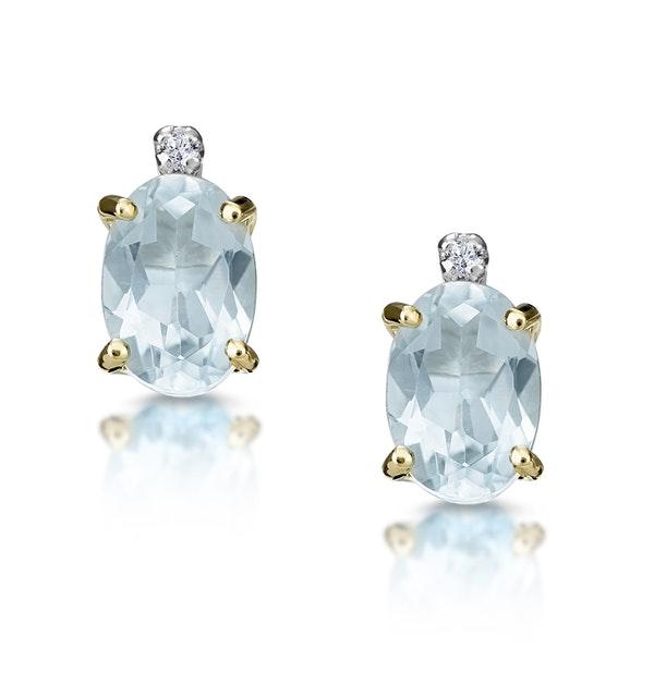 Aquamarine 0.80CT And Diamond 9K Yellow Gold Earrings - image 1