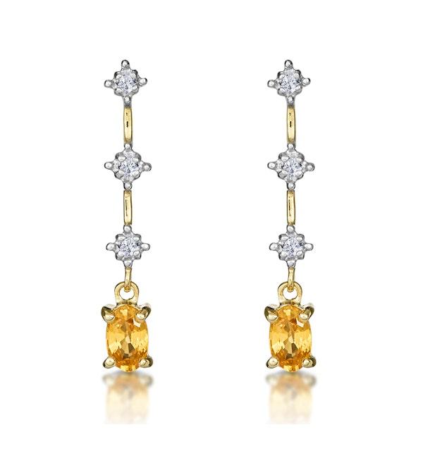 Yellow Sapphire 0.52CT And Diamond 9K Yellow Gold Earrings - image 1