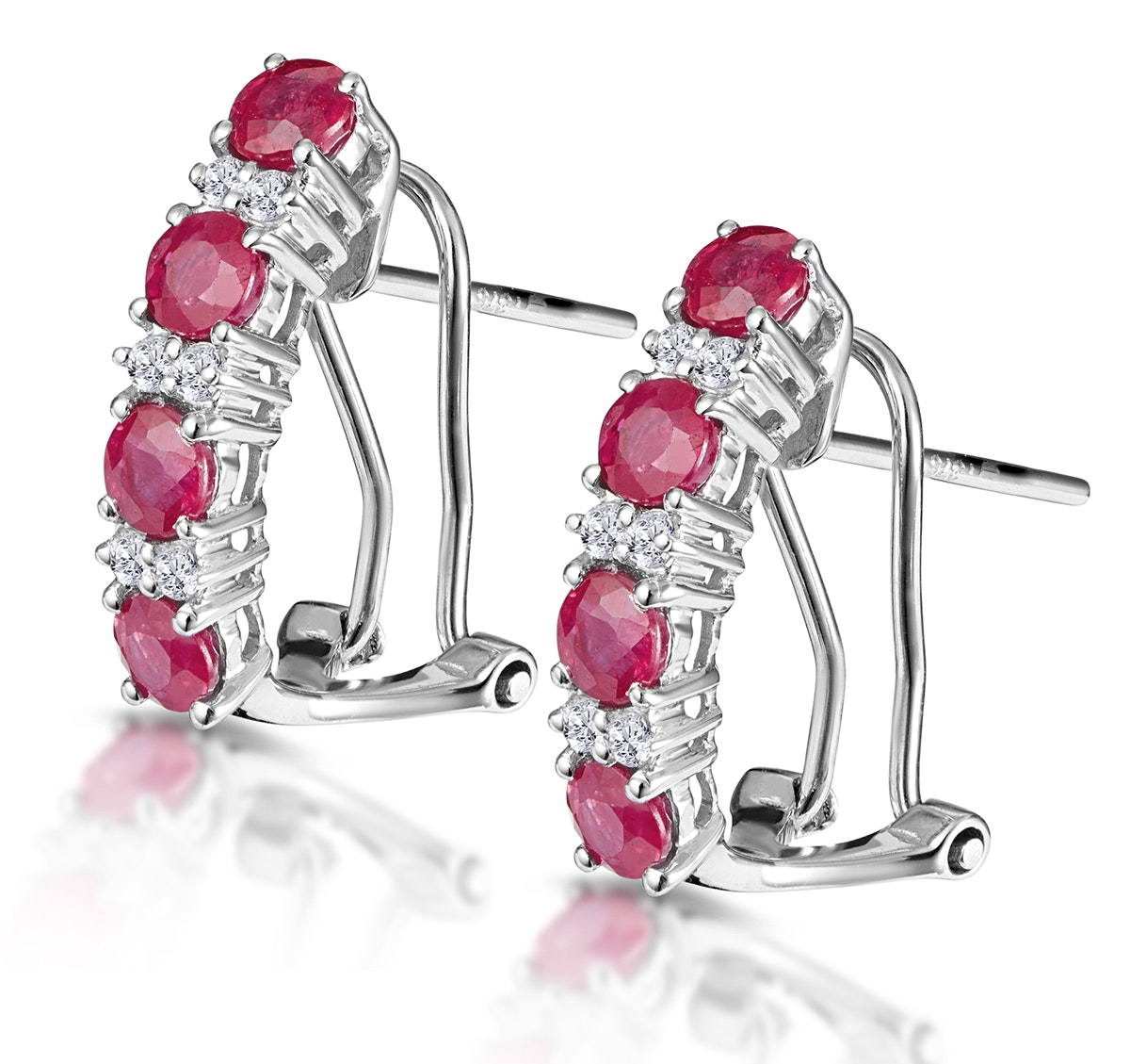 Ruby 1.30CT And Diamond 9K White Gold Earrings