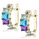 Amethyst and Topaz Diamond Earrings in 9K Gold - RTC-H4437 - image 2