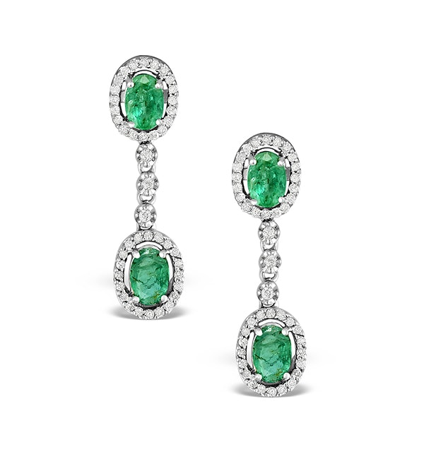Emerald 4 x 6mm And Diamond 9K White Gold Earrings  H4482 - image 1