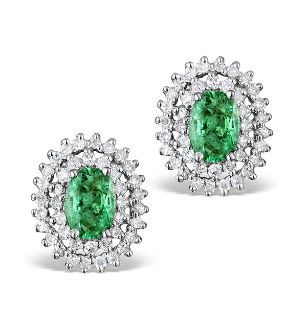 Emerald 4 x 6mm And Diamond 9K White Gold Earrings - image 1