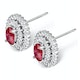 Ruby 0.55CT And Diamond 9K White Gold Earrings - image 3