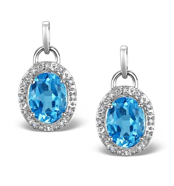 Blue Topaz 4.58CT And Diamond 9K White Gold Earrings - image 1