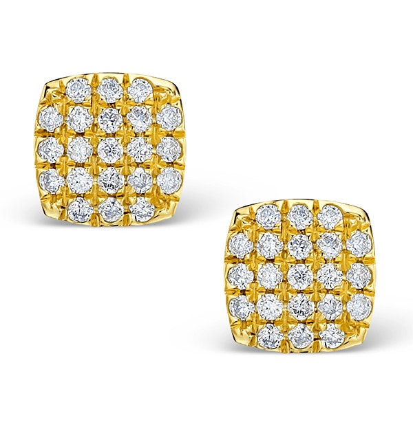 0.44ct Diamond and 9K Gold Daisy Earrings - H4537 - image 1