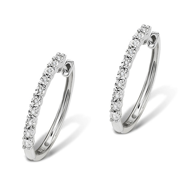 0.08ct Diamond and 9K White Gold Earrings - H4558