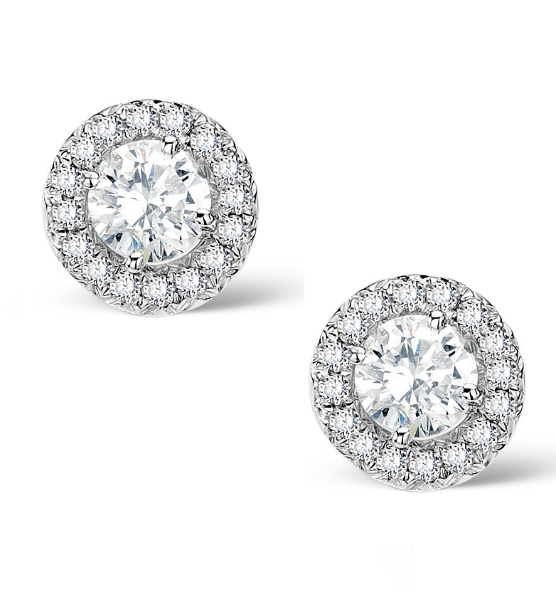 Halo Diamond Earrings - Ella - 0.64ct 9K White Gold - H4565