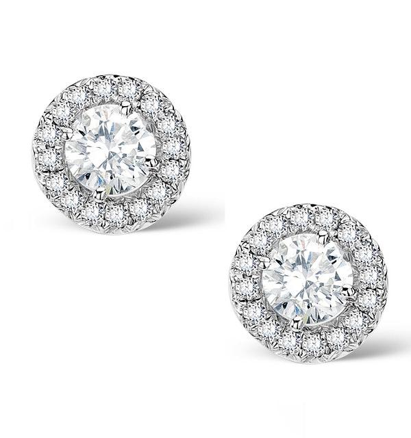 Halo Diamond Earrings - Ella - 0.64ct 9K White Gold - H4565 - image 1