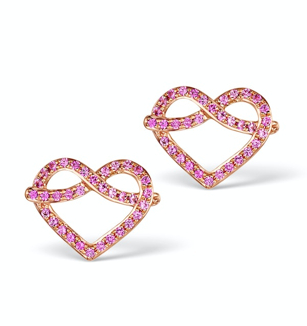 Vivara Collection Pink Sapphire 9K Rose Gold Heart Earrings H4575 - image 1