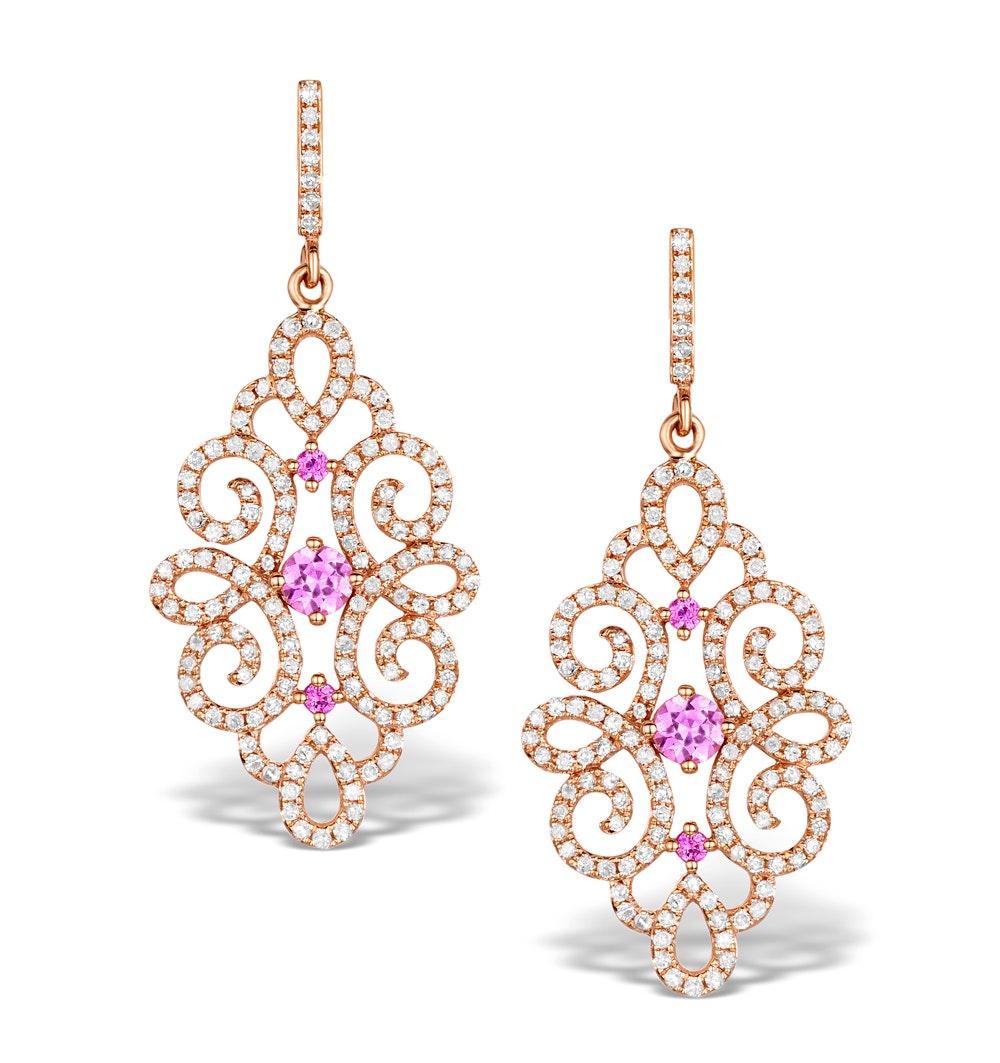 Vivara Collection Pink Sapphire and Diamond 9K Gold Earrings H4576
