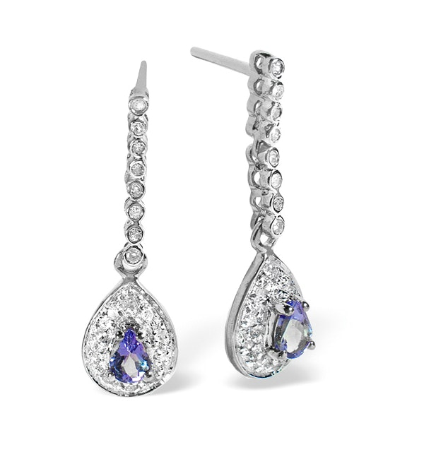 Tanzanite 0.28CT And Diamond 9K White Gold Earrings - image 1