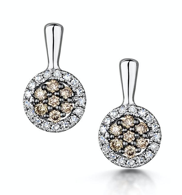 Stellato Champagne Diamond Halo Earrings 0.27ct in 9K White Gold - image 1