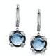 Blue Topaz Black Diamond and Diamond Stellato Earrings 9K White Gold - image 1