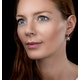 Blue Topaz Black Diamond and Diamond Stellato Earrings 9K White Gold - image 2
